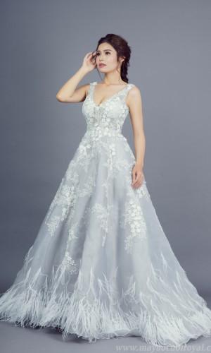 váy cưới màu xám đẹp