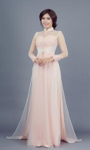 Áo dài cưới màu hồng dâu